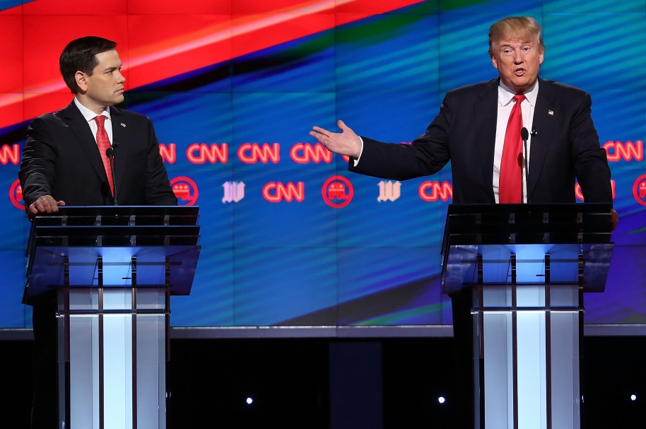 CORAL GABLES, FL - MARCH 10: Republican presidential candidates, Sen. Marco Rubio (R-FL) and Donald Trump are seen during the CNN, Salem Media Group, The Washington Times Republican Presidential Primary Debate on the campus of the University of Miami on March 10, 2016 in Coral Gables, Florida. The candidates continue to campaign before the March 15th Florida primary.   Joe Raedle/Getty Images/AFP
