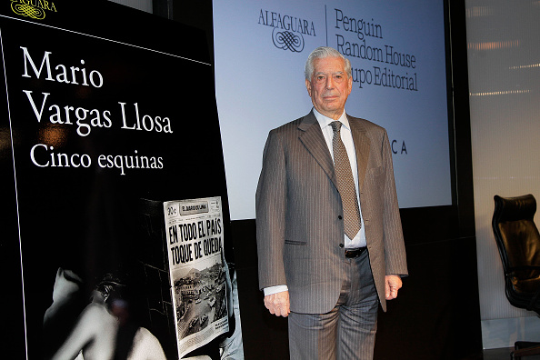 MADRID, SPAIN - MARCH 01: Peruvian writer Mario Vargas Llosa, awarded with the Nobel Prize for literature in 2010, presents his new book 'Cinco Esquinas' (Five Corners) in the House of America on March 1, 2016 in Madrid, Spain. (Photo by Europa Press/Europa Press via Getty Images)