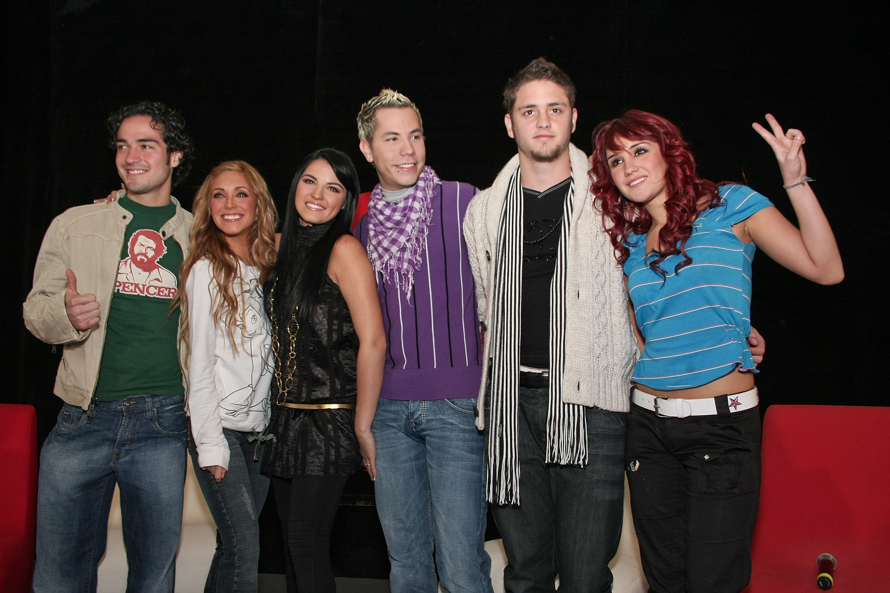 "MEXICO CITY - NOVEMBER 27: Alfonso Herrera,Anahi,Maite Perroni,Christian Chavez,Christopher Uckermann and Dulce Maria of RBD attends a press conference to announce their new album ""Empezar Desde Cero"" held at EMI Music on November 27, 2007 in Mexico City. (Photo by Victor Chavez/WireImage)"