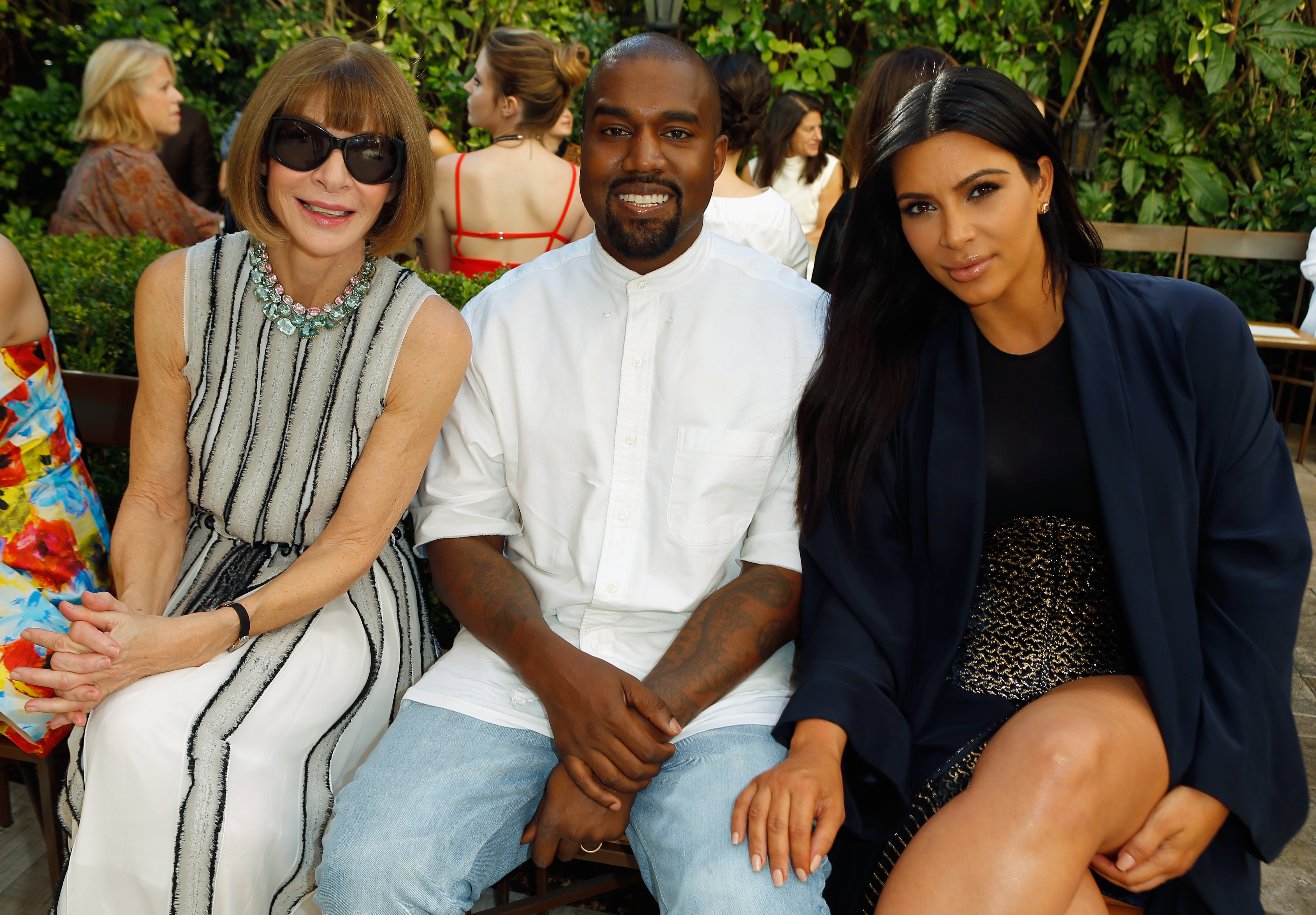 Kanye West, Anna Wintour y Kim Kardashian