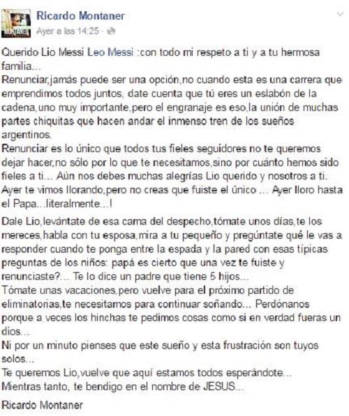 Ricardo Montaner a Messi