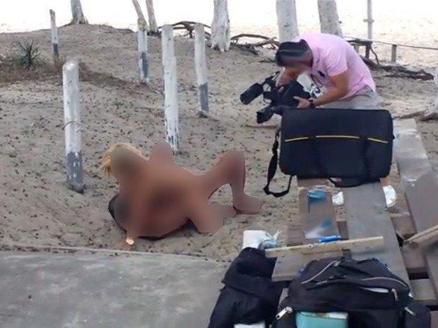 Actores porno durante grabación