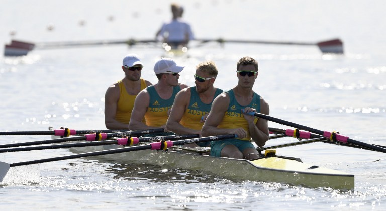 Remeros australianos entrenan para los Juegos Olímpicos Río 2016.