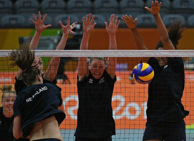El equipo femenino de vóleibol de Holanda entrena para los Juegos Olímpicos Río 2016.