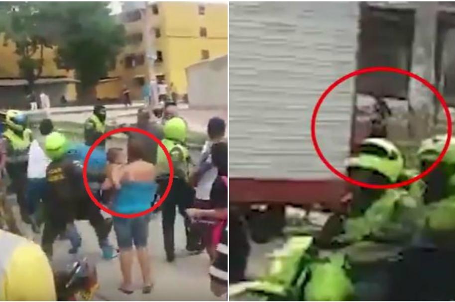 Una mujer con su bebé en medio de la agresión