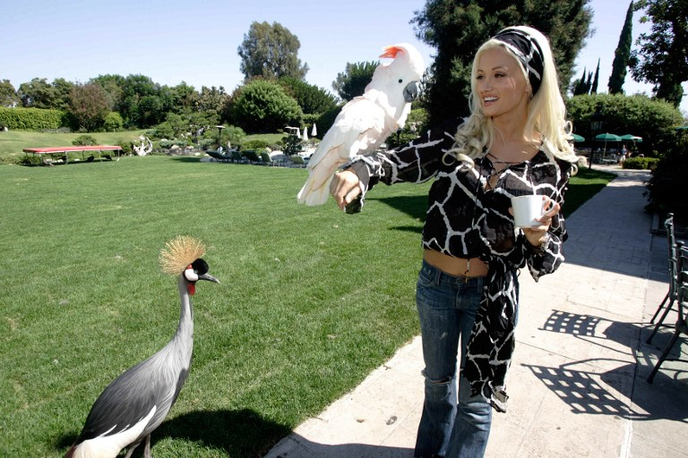 """Holly, one of the three girlfriends of Playboy Enterprises CEO Hugh Hefner plays with a perrot during a guided tour of the mansion in Los Angeles, CA 23 August 2006. Hefner called journalists to promote the premiere in France of the series """"The Girl Next Door"""", a reality show that introduces the viewer into the daily life of Hefner and his three girlfriends. AFP PHOTO / HECTOR MATA / AFP PHOTO / HECTOR MATA"""