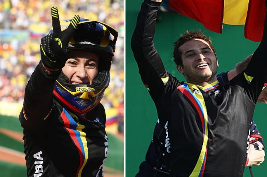 Mariana Pajón y Carlos Ramírez.