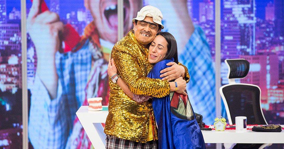 El humorista Dany Hoyos ('Suso') y la bicicrosista Mariana Pajón.