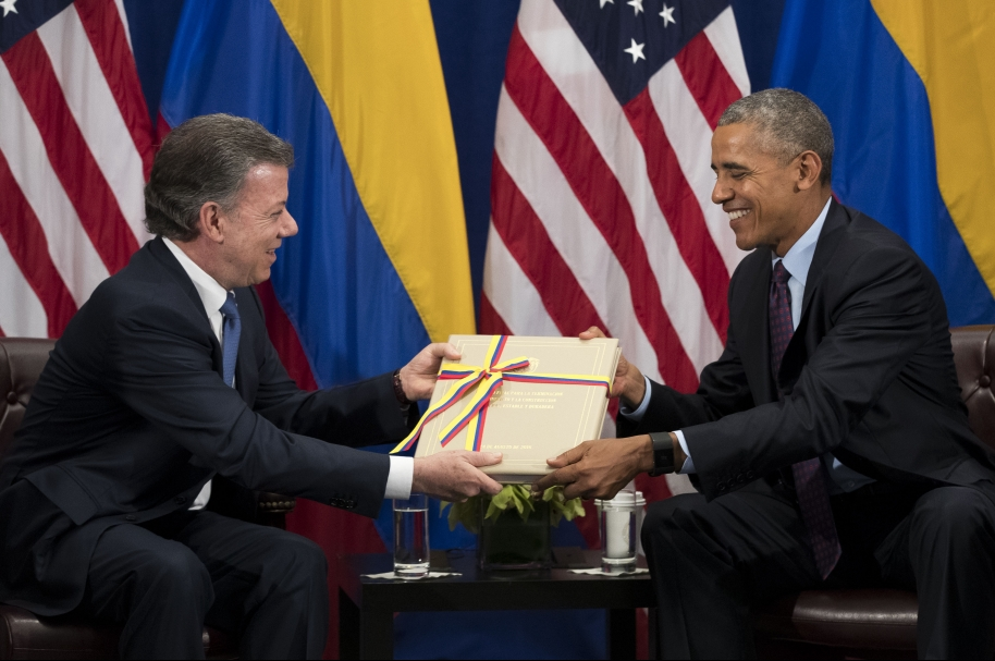 President Obama Holds Bilateral Meeting With Colombian President Santos In NYC