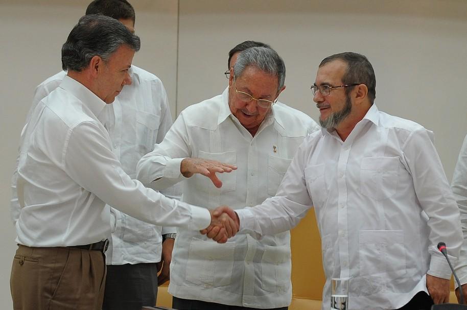 CUBA-COLOMBIA-FARC-CONFLICT-PEACE-CASTRO-SANTOS-TIMOCHENKO