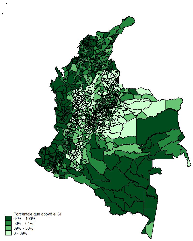 Mapa votos 'Si'