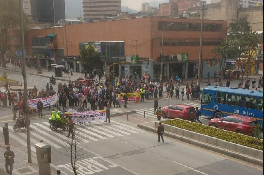Protesta en el centro de Bogotá