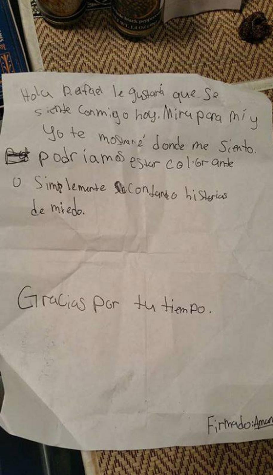 Carta de Amanda Moore a Rafael Anaya