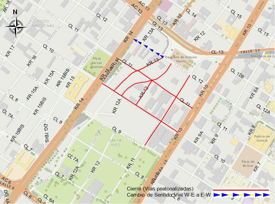 Flecha roja en el mapa indica los cierres totales