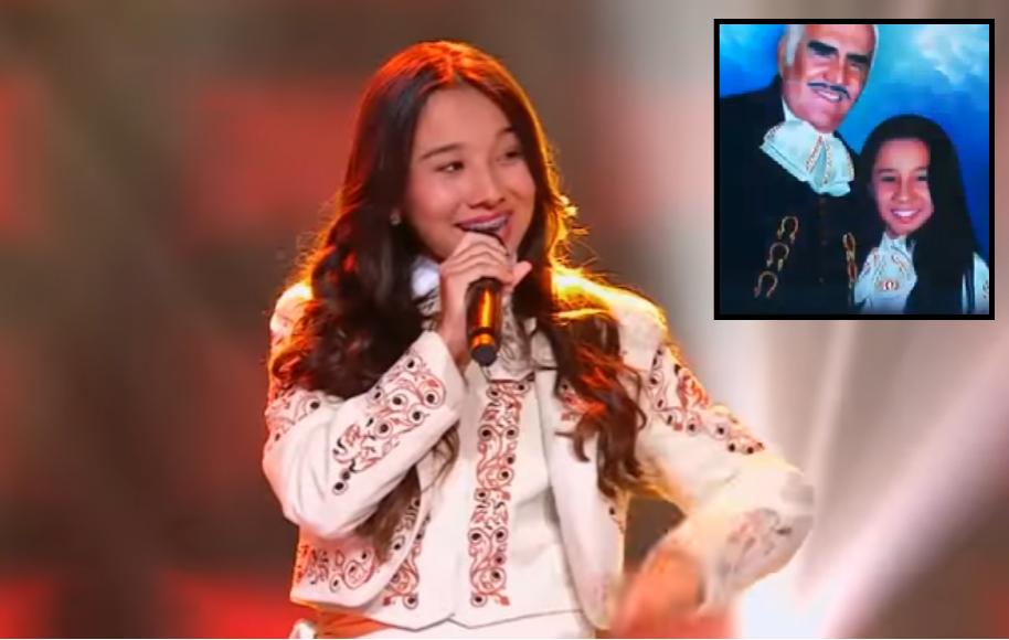 Dayanna Ángel, participante de 'La voz teens' y Vicente Fernández, cantante mexicano.