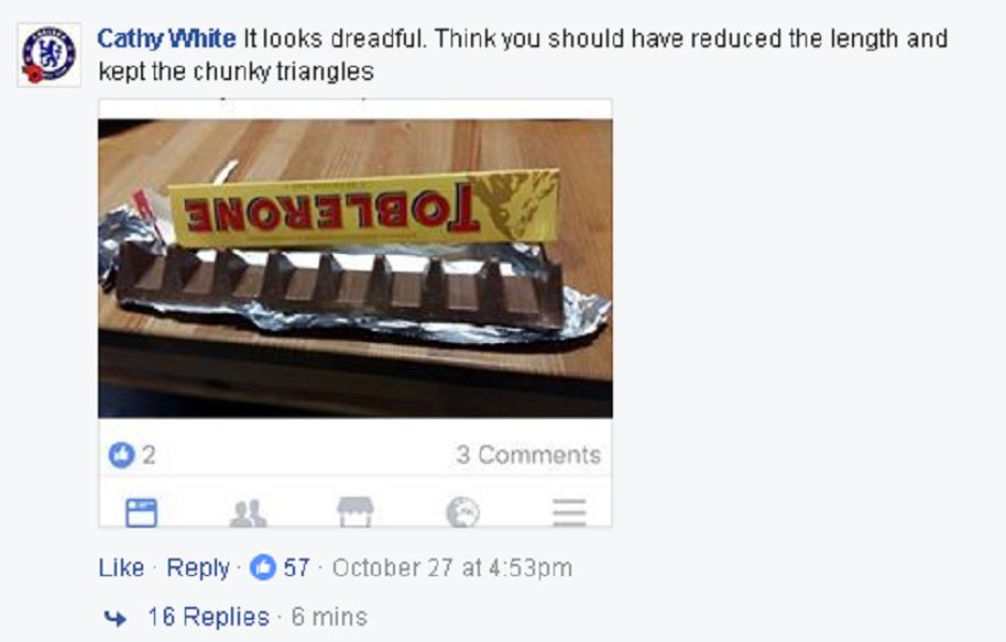 El cambio de Toblerone molestó a los fanáticos