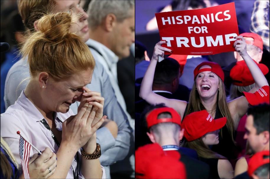 Una seguidora de Hillary Clinton llora mientras una de Donald Trump celebra