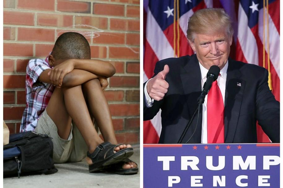 Montaje de niño triste y Donald Trump. Pulzo.com