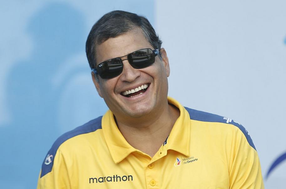 Rafael Correa durante los Juegos Bolivarianos XVII , en 2013.