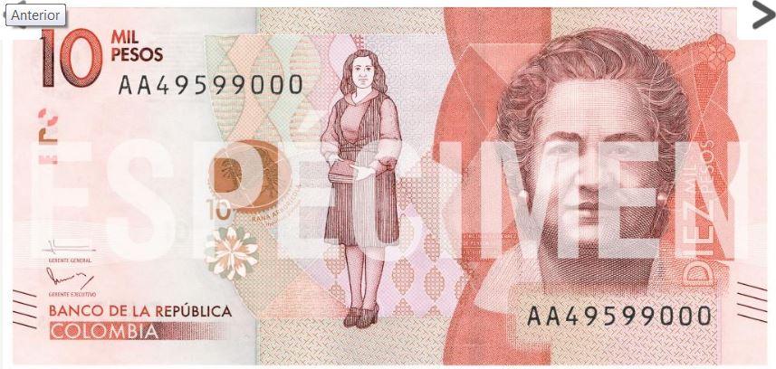 Nuevo billete de 10 mil