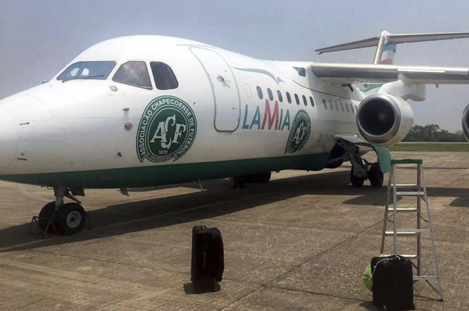 Avión de Lamia con el escudo de Chapecoense
