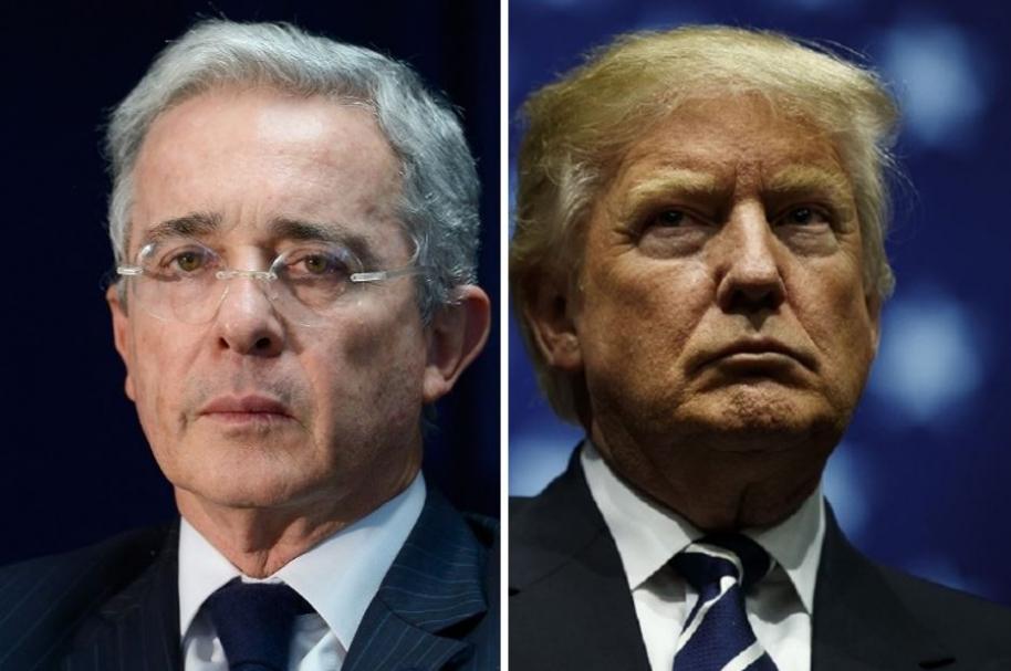 Álvaro Uribe, ex presidente de Colombia, y Donald Trum, presidente de Estados Unidos