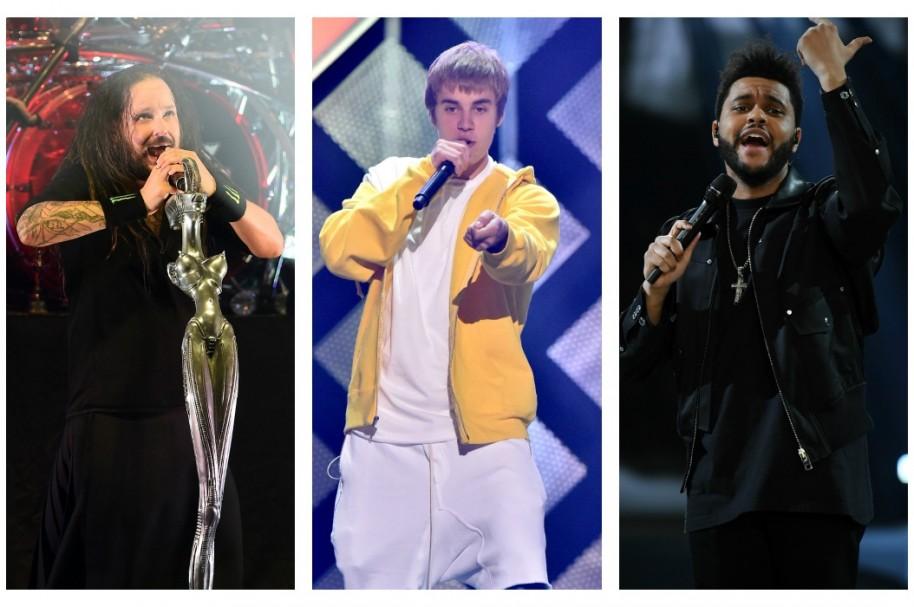 Jonathan Davis, Justin Bieber, The Weeknd