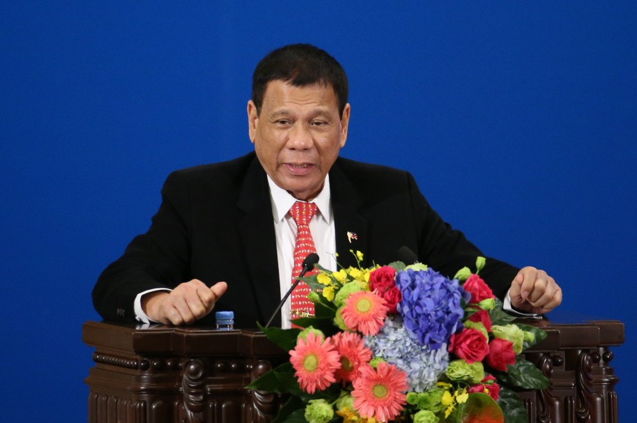 Presidente de Filipinas, Rodrigo Duterte, en su visita a China