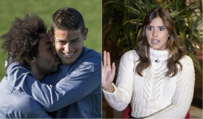 James Rodríguez y Marcelo, futbolistas del Real Madrid, y Paulina Vega, ex Miss Universo.