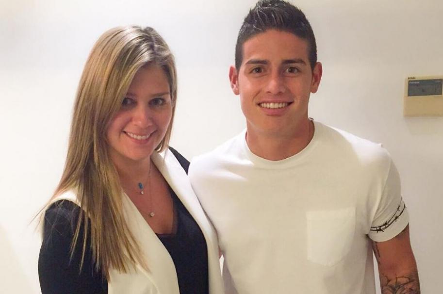 Andrea Guerrero, periodista de RCN, y James Rodríguez, futbolista del Real Madrid y la Selección Colombia.