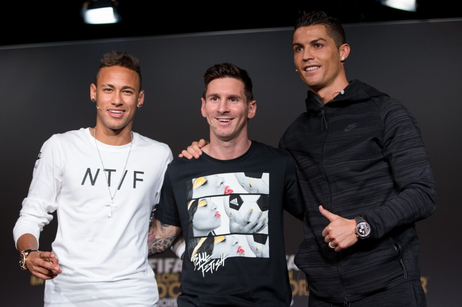Neymar Jr, Lionel Messi y Cristiano Ronaldo