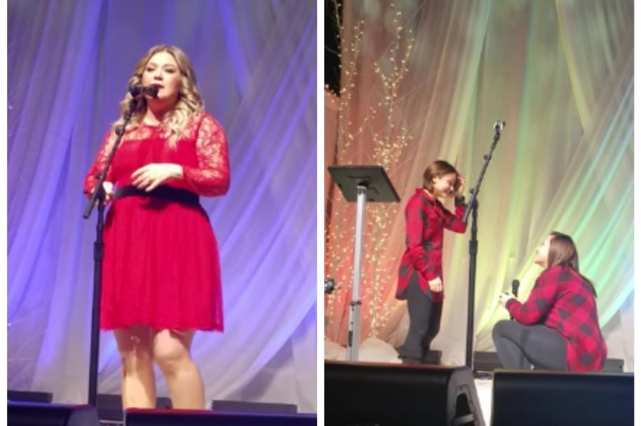 Fan de Kelly Clarkson propone matrimonio a su novia en concierto de la cantante. Pulzo.com