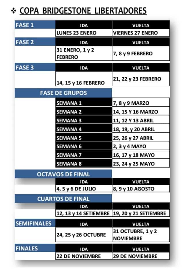 calendario Libertadores
