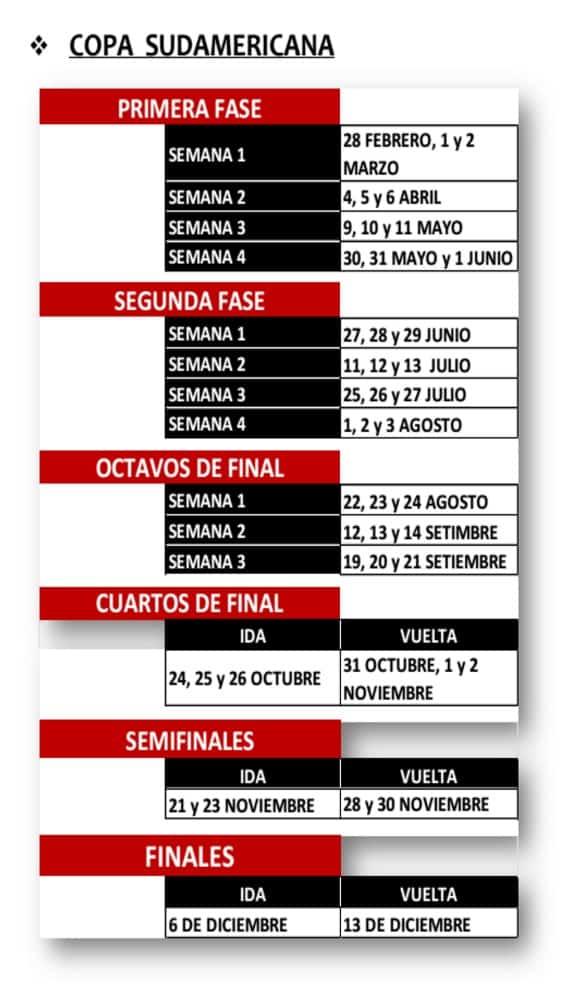 calendario Sudamericana