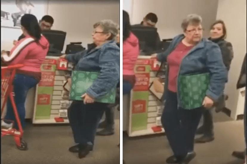 Mujer blanca discriminando a latinas.