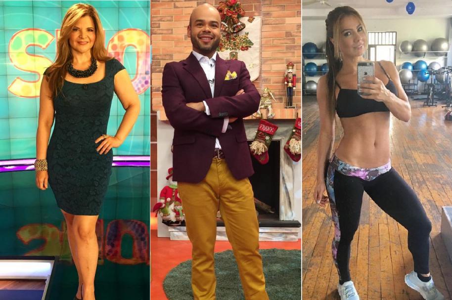 Diva Jessurum, presentadora de 'Show Caracol'; Carlos Vargas, presentador de 'La Red'; y Esperanza Gómez, actriz porno.