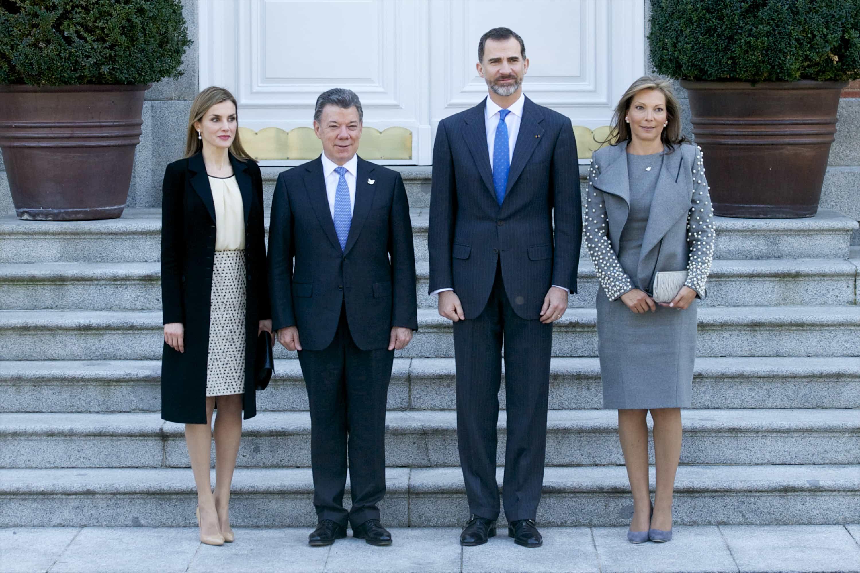 Reina Letizia de España, Juan Manuel Santos, el Príncipe Felipe VI de España y  María Clemencia Rodríguez de Santos