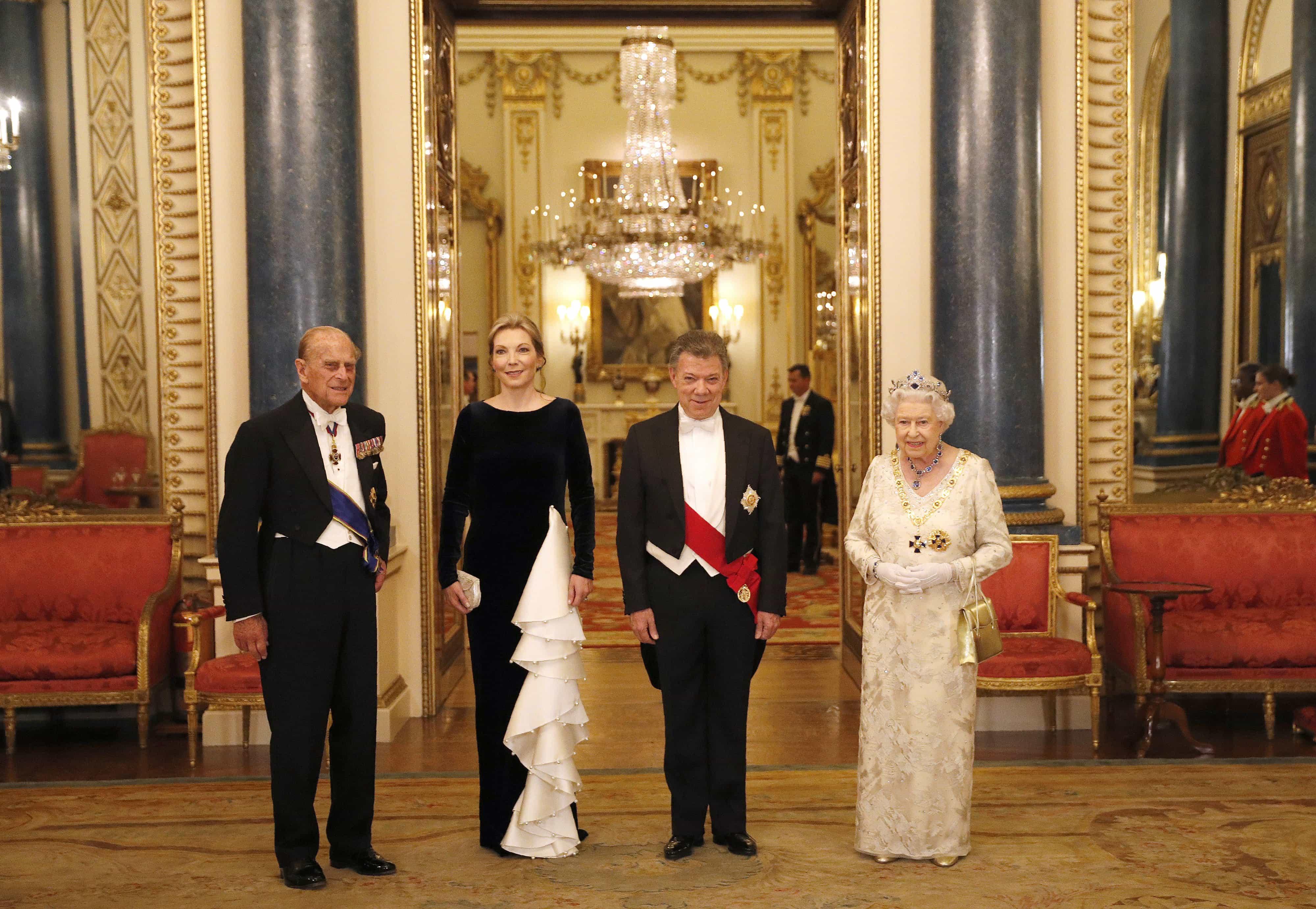 Felipe de Edimburgo, María Clemencia Rodríguez de Santos, Juan Manuel Santos y la Reina Isabel II