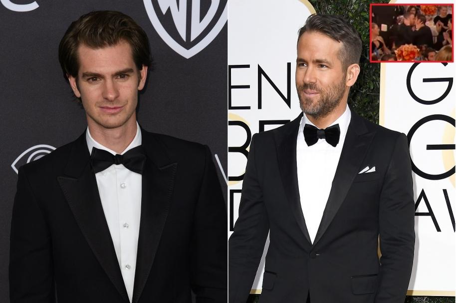 Beso de Ryan Reynolds (Deadpool) y Andrew Garfield (Spiderman) en los Globo de Oro