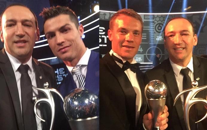 Juan Carlos de la Cuesta con Ronaldo y Neuer