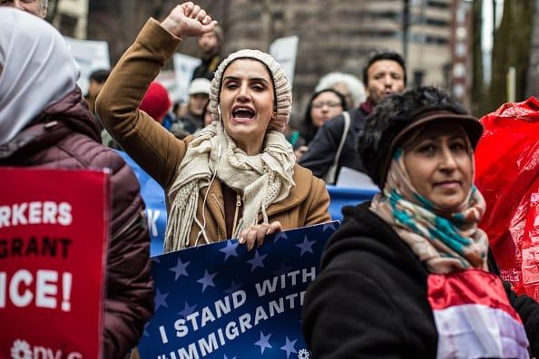 Manifestación de migrantes en Nueva York
