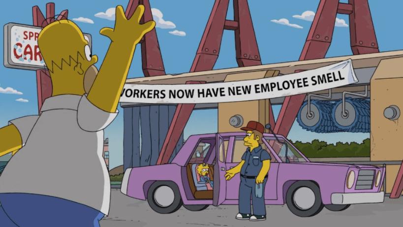 Homero y Maggie Simpson, y empleado de lavadero de carros. Pulzo.com