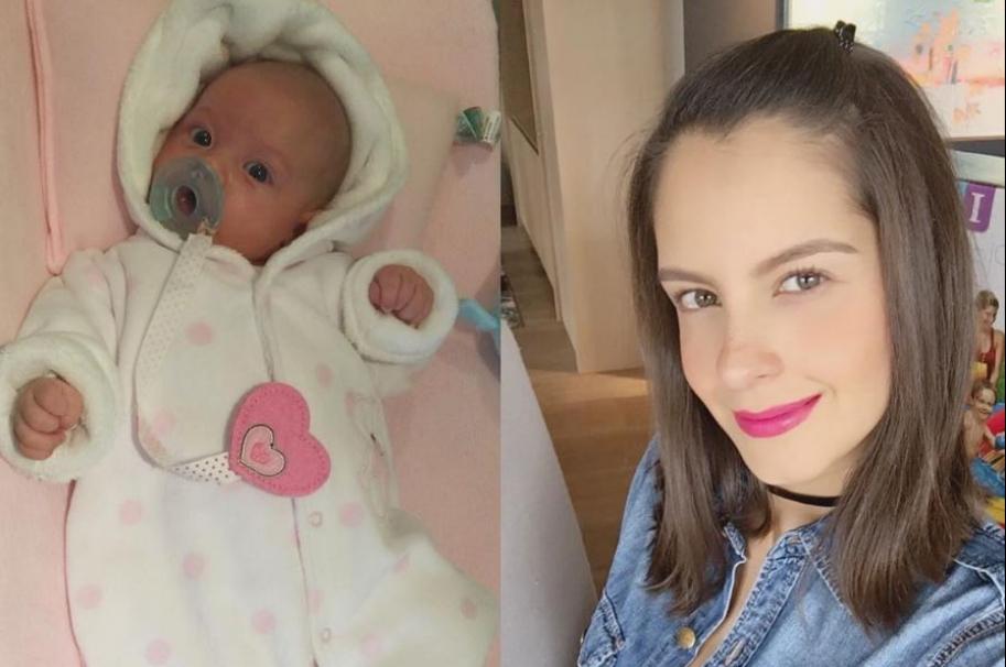 Laura Acuña, presentadora de 'Muy buenos días' y Noticias RCN, y su hija Helena, de un mes de nacida.