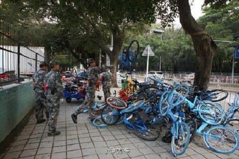 Bicicletas en las calles de Nanjin