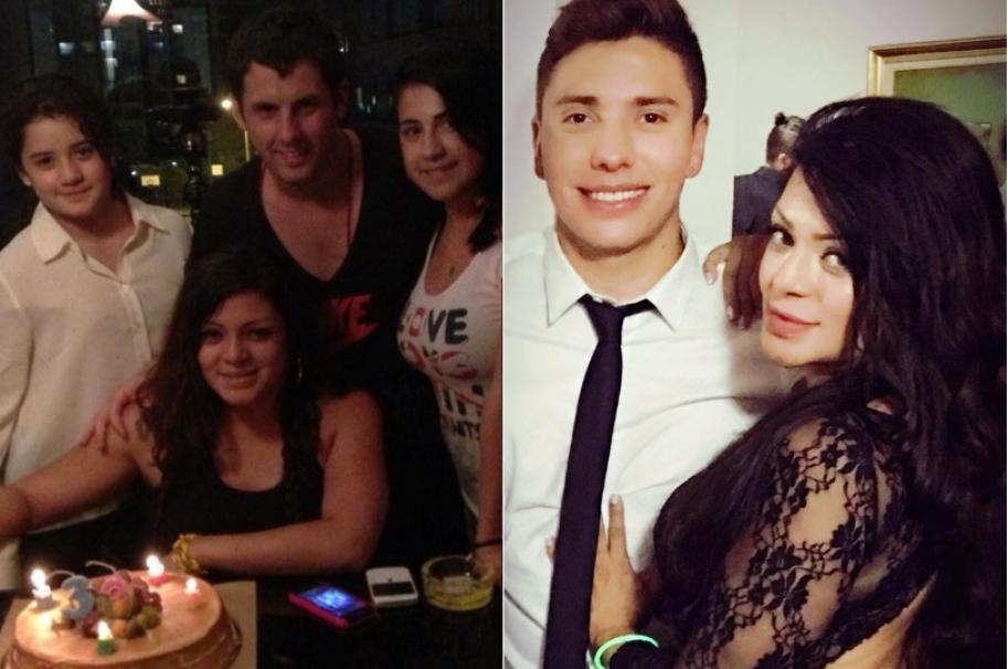La cantante Marbelle junto a sus hijas, el el músico y productor Sergio Chaple, y el futbolista de Santa Fe Sebastián Salazar.