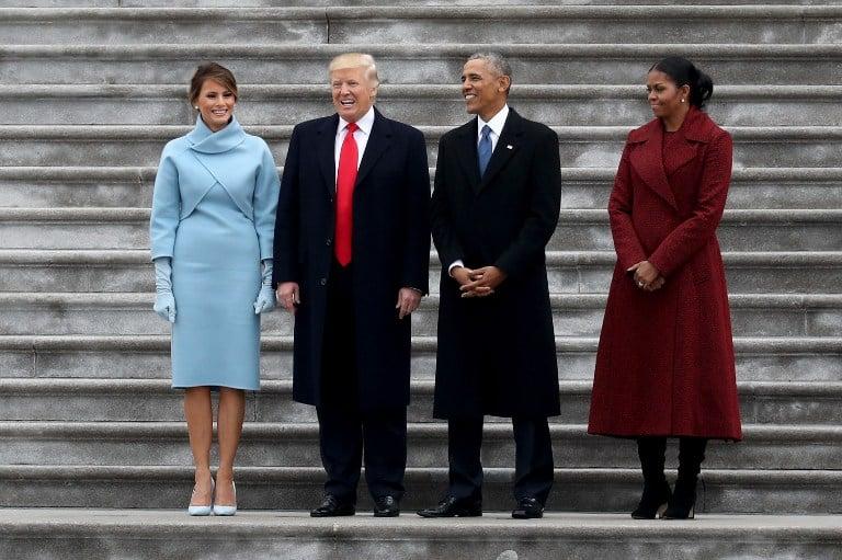 Melania Trump, Donald Trump, Barack Obama y Michelle Obama en el Capitolio. Pulzo.com