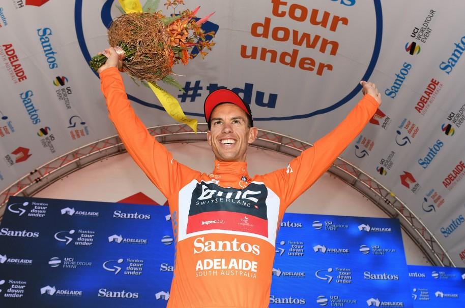 El australiano Richie Porte del equipo BMC Racing celebra su triunfo en la quinta etapa del Tour Down Under