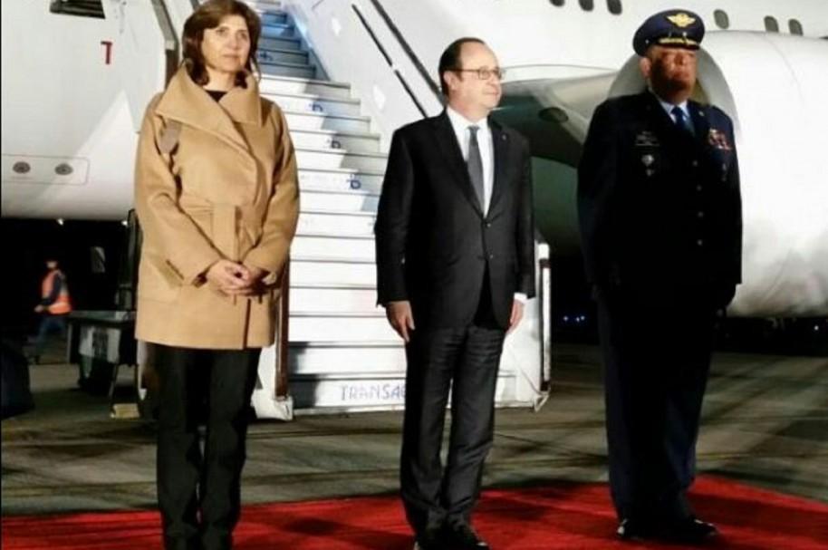 Canciller María Ángela Holguín y el presidente de Francia François Hollande