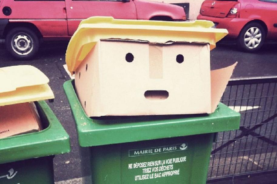 Basurero parecido a Donald Trump