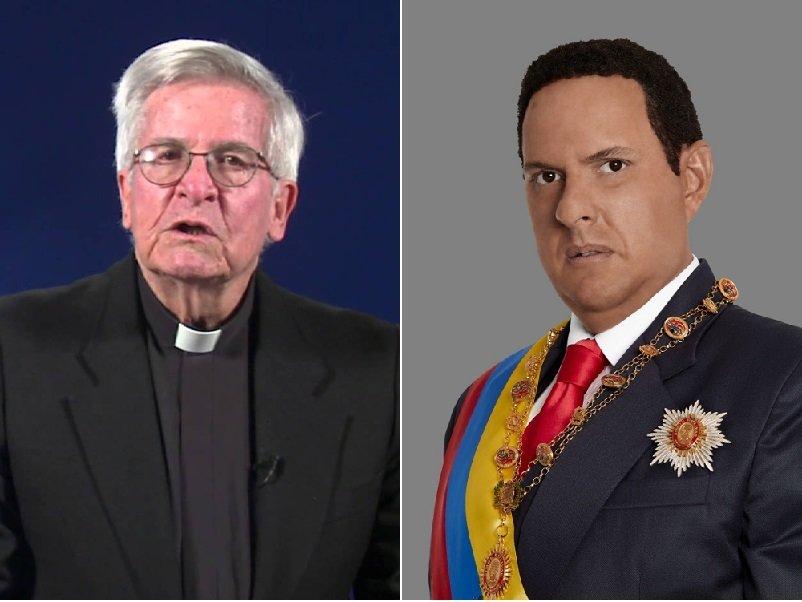 El padre Diego Jaramillo, en el espacio 'El Minuto de Dios', y el actor Andrés Parra, interpretando a Hugo Chávez en 'El comandante' de RCN.